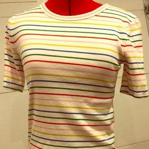Rainbow striped cotton tee